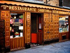 Dinner at Restaurante Sobrino de Botin, Madrid, Spain. Restaurant established in It is listed by the Guinness Book of Records as the oldest eatery in the world. Ibiza, Places Around The World, Around The Worlds, Places Ive Been, Places To Go, Madrid Restaurants, Madrid Travel, Valencia Spain, Spain And Portugal