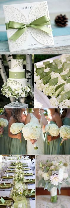 Sage Green and White Wedding Colors and Laser Cut Wedding Invitations:
