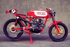 Originally designed to compete at the famous Motogiro d'Italia is Radical Ducati's custom Ducati 125 Sport Cafe Racer aka 'Carallo Sport. Ducati Cafe Racer, Ducati Motorbike, Cafe Bike, Motorcycle Bike, Moto Ducati, Vintage Bikes, Vintage Motorcycles, Custom Motorcycles, Vintage Cafe