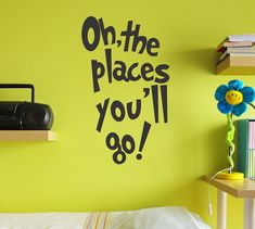 "Here is a great Dr Seuss inspired wall quote. Oh, the Places You'll Go! It's a perfect inspirational decal for your kids room or nursery! Dimensions: This quote measures 14"" wide and 24"" tall. Looking"