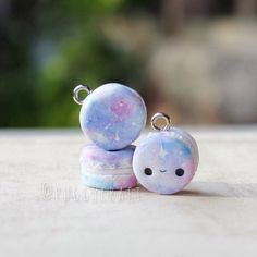Kawaii Galaxy Macarons  polymer clay charm by Puggycraftshop