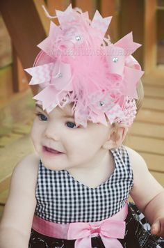 Light Pink Chevron Over the Top Hair Bow or Over by BBOWSBOUTIQUE