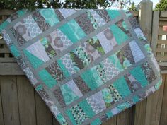 Baby Girl Quilt Lap Quilt or Throw Grey Teal Coral Girl