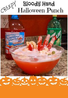 Halloween Party Ideas Bloody Hand Punch |Sassy Girlz Blog #SpookyCelebrations