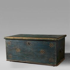 Decorated Turquoise Blanket Chest, 19th Century   InCollect