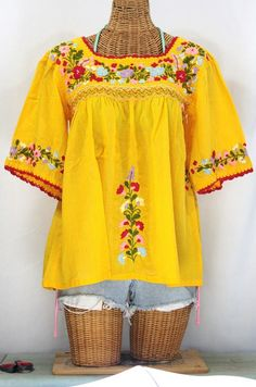 """""""La Marina"""" Embroidered Mexican Blouse -Goldenrod + Red"""