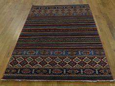 "4'2""x6'2"" Pure Wool Hand-Knotted Super Kazak Khorjin Design Oriental Rug  #rug #rugs #home #decor #carpet #interior #decoration #sale #store #oriental #wool #modern #runner #cotton #floor #handmade #livingroom #black"