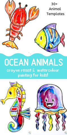 Ocean Animal Watercolor Painting for Kids - A quick and easy art idea that kids will love! Perfect for an under the sea theme craft session. Animal Art Projects, Toddler Art Projects, Animal Crafts, Projects For Kids, Crafts For Kids, Kids Watercolor, Watercolor Animals, Watercolor Paintings, Watercolors
