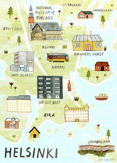 Helsinki Illustrated Map Finland Art Print City by LiviGosling Travel Maps, New Travel, Travel Posters, Italy Travel, Finland Trip, Finland Travel, Visit Helsinki, Baltic Cruise, City Maps
