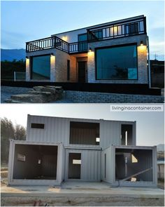 Luxury Container House Located South Korea - Living in a Container This house looks almost like a traditional brick house. This house has a different exterior surface than the container frame. Building A Container Home, Container Buildings, Container Architecture, Storage Container Houses, Container Home Plans, Small House Design, Modern House Design, Shipping Container Home Designs, Shipping Container Homes Australia