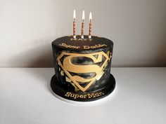 Super Daddy cake, Super Hubby cake, Superman Cake Birthday Cakes For Men, Cakes For Boys, Fondant Cakes, Cupcake Cakes, Superman Cakes, Cake For Husband, Happy Birthday Daddy, Bithday Cake, Dad Cake