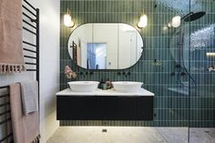 The Block 2020 Master Ensuites Uncover Major Issue this Season Grey Tiles, White Tiles, Ensuite Room, Reeded Glass, Pink Towels, Vanity Basin, 1920s House, Contemporary Bathroom Designs, Shower Screen