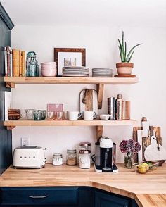 Jess Ann Kirby kitchen renovation with new open shelving and butcher block countertops. Cup hooks under shelves Kitchen Inspirations, Interior, Kitchen Remodel, Kitchen Decor, New Kitchen, House Interior, Sweet Home, Home Kitchens, Kitchen Renovation