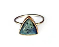 Triangle Monarch Ring with natural labradorite set in brass + sterling silver | Emilie Shapiro