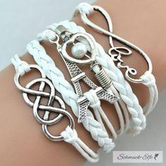 Armband Paris  Infinity mit Herz Perle weiß  im...