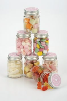 Mini filled sweetie jars - those jars wouldn't stay full for long :)