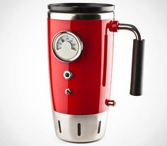 Hot Rod Heated Travel Mug $25 - Plug it into your car's lighter outlet and it'll keep your coffee warm (only 8oz, but hey, warm coffee through traffic)