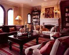 Traditional Living Room Burgundy Coloured Sofa With Grey Walls Design,  Pictures, Remodel, Decor