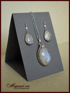"Bright silver set "" SiberianWinter"" with moonstone cabochon / Яркий серебряный комплект ""Зима Сибирская"" с лунным камнем."