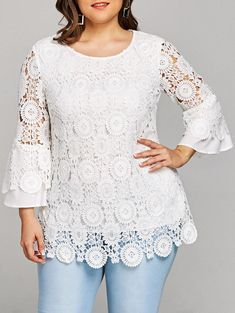 Plus Size Flare Sleeve Lace Tunic Top Blouse Styles, Blouse Designs, Lace Tunic, Lace Outfit, Lace Tops, Plus Size Tops, Corsage, Dress Patterns, White Lace