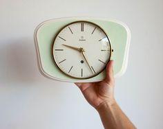 Junghans Wall Clock Vintage German Ceramic by TheThingsThatWere, $160.00
