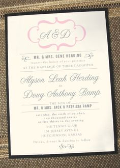 Modern Vintage Wedding Invitation by Annamalie on Etsy, $2.25