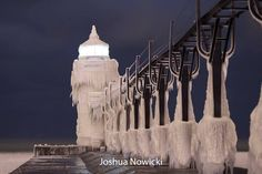 icy lighthouse michigan
