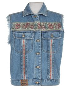 90s Stonewash Blue Floral Sleeveless Denim Jacket tapestry embellished vintage grunge