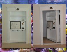 Multi-functional wood creation(bookcase, white board, backpack hangers, hidden door)