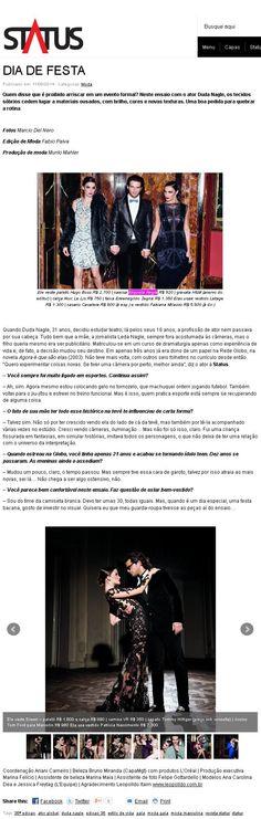 Site da Revista Status : Dia de Festa. Modelo veste Camisa Etiqueta Negra.