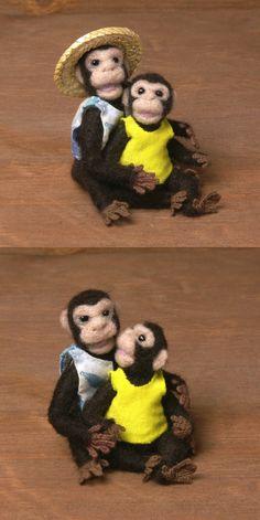 Needle-Felted Miniature Chimpanzees by DinkyWorld on Etsy