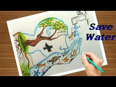 """Save water save life "" step by step painting in a easy way /easy trick to draw. Poster Drawing, Save Water Poster, Easy Disney Drawings, Oil Pastel Drawings, Nature Drawing, Save Water Poster Drawing, Water Drawing, Earth Day Drawing, Earth Drawings"