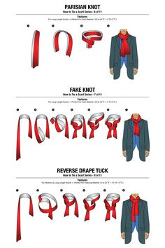 11 ways to tie a scarf, menswear, scarf, Scarf Knots, Tie Knots, Clothing Hacks, Mens Clothing Styles, Mens Scarf Fashion, Fashion Scarves, Tie A Necktie, Men Dress Up, Head Scarf Tying