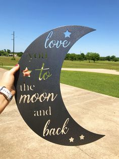 I love you to the moon &  back metal sign decor wall art, children's room decor, kids decor, nursery decor & signs, baby shower gifts