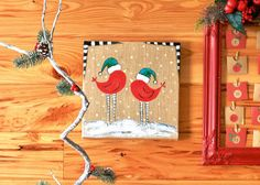 Just Add Cheer - Burlap Canvas Bird Painting