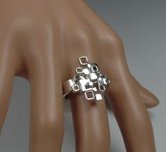 Sterling silver cocktail ring, abstract, lots of boxes, statement by RadiantOriginals on Etsy