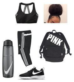 """""""Workout day """" by cuteeassnaeeee ❤ liked on Polyvore featuring adidas, Abercrombie & Fitch, Victoria's Secret and NIKE"""