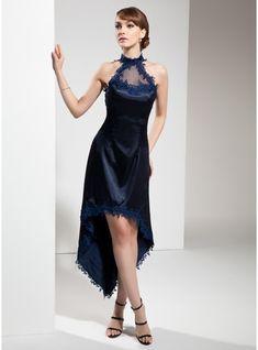 A-Line/Princess Halter Asymmetrical Charmeuse Cocktail Dress With Appliques Lace