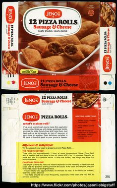 Jeno's - 12 Pizza Rolls - Sausage & Cheese - 6oz frozen  food product package box - 1973 Here's a fantastic box for a classic 70's treat: Jeno's Pizza Rolls! Gotta love this one, dating all the way back to 1973!