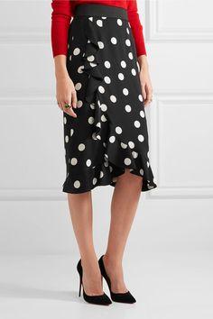 Dolce & Gabbana - Ruffled Polka-dot Stretch-silk Charmeuse Skirt - Black - IT50