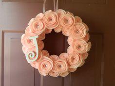 Felt rosette and monogram wreath