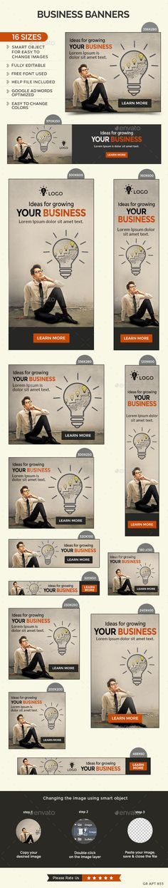 Business Banners Template #design #web #ads Download: http://graphicriver.net/item/business-banners/12646354?ref=ksioks