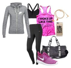"""Hit the gym"" by azrasher ❤ liked on Polyvore featuring Patagonia, NIKE, Victoria's Secret PINK, Happy Plugs and Casetify"