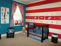It is unique and neutral gender. Dr Seuss nursery has been very popular today. Bedding, furniture and decorations are so many to choose from for your baby room