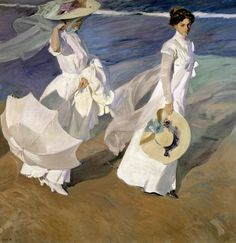 I love this painting ..........Strolling Along The Seashore Print by Joaquin Sorolla y Bastida