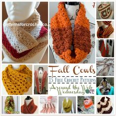15 FREE Crochet Patterns for Cowls from Around the Web. For this roundup of fall crochet cowls, I decided to use patterns that are done in fall colors. However, you can choose any colors you like to crochet cowls that you can wear throughout the seasons. Chestnut Hill Scarf by ELK Studio The rustic colors...Read More »