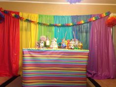 Full view of table...sweet sixteen party: dollar store tablecloths for backdrop and tissue paper Pom Poms for decorations, tablecloth is wrapping paper
