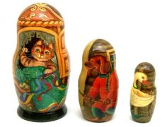 This wonderful nesting doll was painted and signed by Tatiana Vzdorova. The Cat, The Dog and The Goose all work as one to keep the house neat and clean.