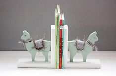 Llama Bookends with Hand Crocheted Blanket, Kids, Sage, Nursery, Mother's Day, Book ends, Mint Green, Handmade in the USA