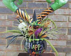 Witch Hat Centerpiece Halloween Centerpiece by VirginiaWreathCo